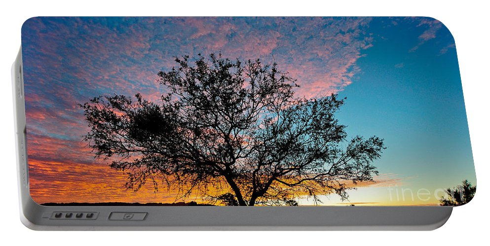 Tree Portable Battery Charger featuring the photograph Outback Sunset Pano by Ray Warren