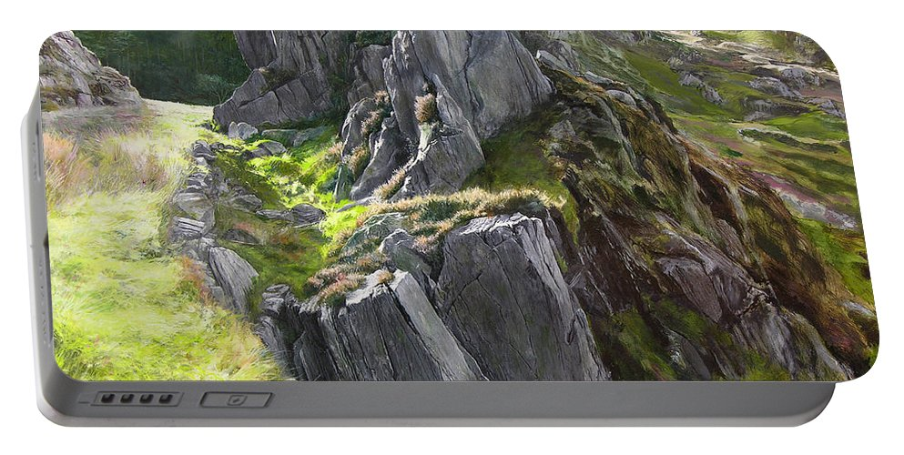 Landscape Portable Battery Charger featuring the painting Outcrop In Snowdonia by Harry Robertson