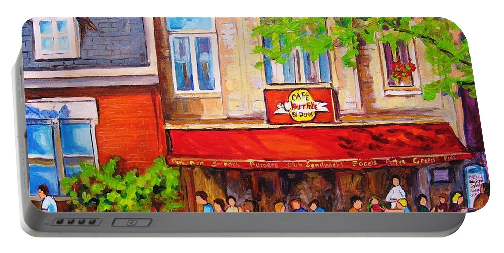Montreal Portable Battery Charger featuring the painting Outdoor Cafe by Carole Spandau