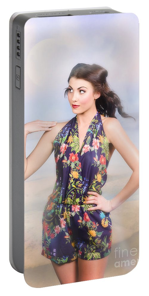 Fashion Portable Battery Charger featuring the photograph Outdoor Fashion Portrait. Spring Twilight Beauty by Jorgo Photography - Wall Art Gallery