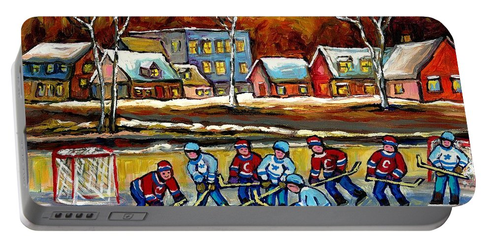 Country Hockey Rink Portable Battery Charger featuring the painting Outdoor Hockey Rink by Carole Spandau