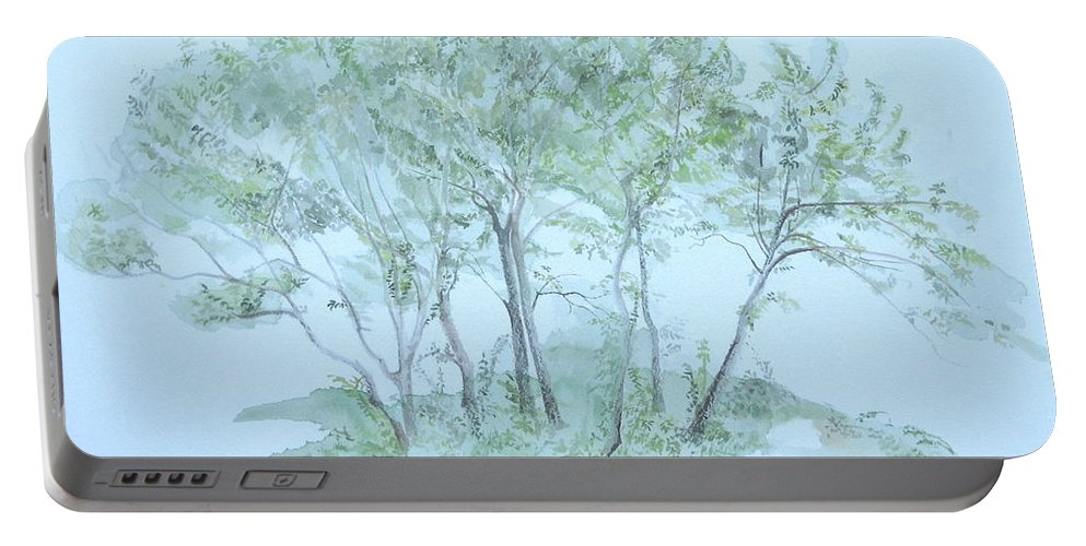 Trees Portable Battery Charger featuring the painting Outer Banks by Leah Tomaino