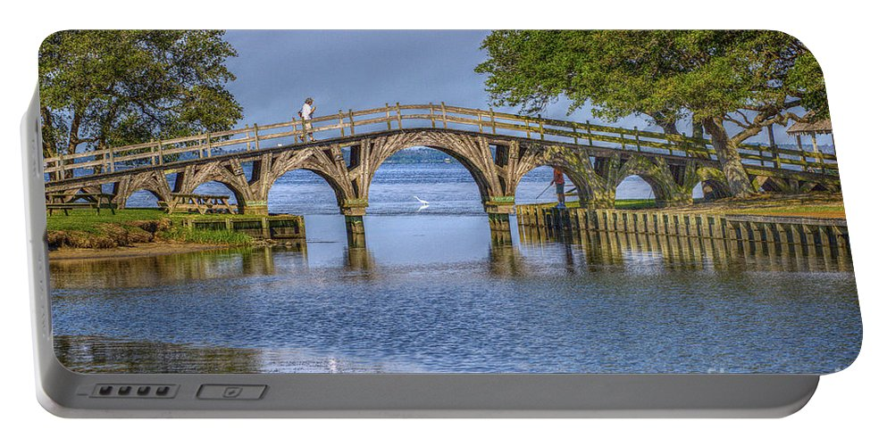 Summer Portable Battery Charger featuring the photograph Outer Banks Whalehead Club Bridge by Randy Steele