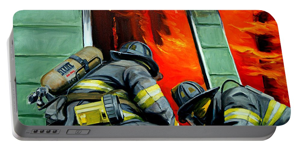 Firefighting Portable Battery Charger featuring the painting Outside Roof by Paul Walsh