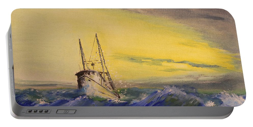Boat Portable Battery Charger featuring the painting Outside The Jetty by Christopher Jenkins