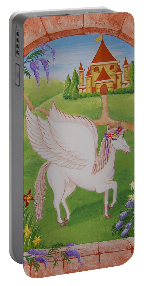 Horses Portable Battery Charger featuring the painting Outside The Window by Valerie Carpenter