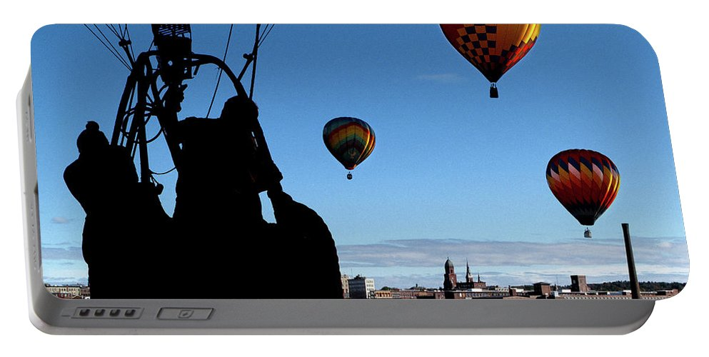 Bates Mill Portable Battery Charger featuring the photograph Over Auburn And Lewiston Hot Air Balloons by Bob Orsillo