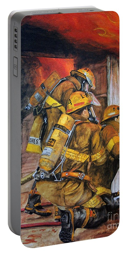 Fire Portable Battery Charger featuring the painting Over Head Heat by Paul Walsh