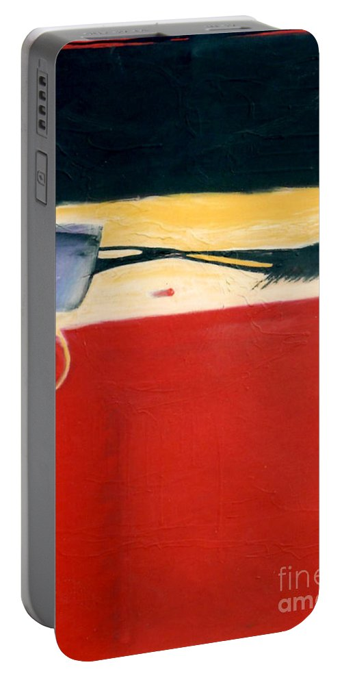 Red Portable Battery Charger featuring the painting Over Optics by Marlene Burns
