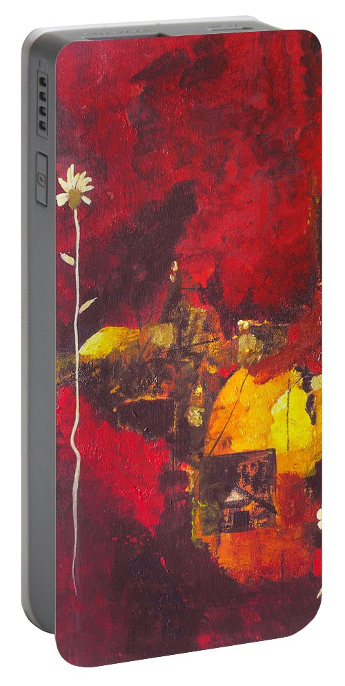 Abstract Portable Battery Charger featuring the painting Over The Broken Fence by Ruth Palmer