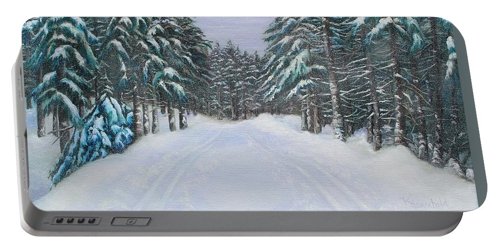 Winter Portable Battery Charger featuring the painting Snow Tracks by Rebecca Hauschild