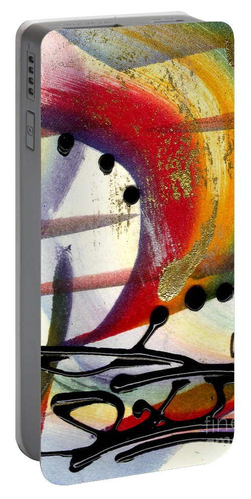 Vibrant Portable Battery Charger featuring the mixed media Over The Rainbow by Angela L Walker