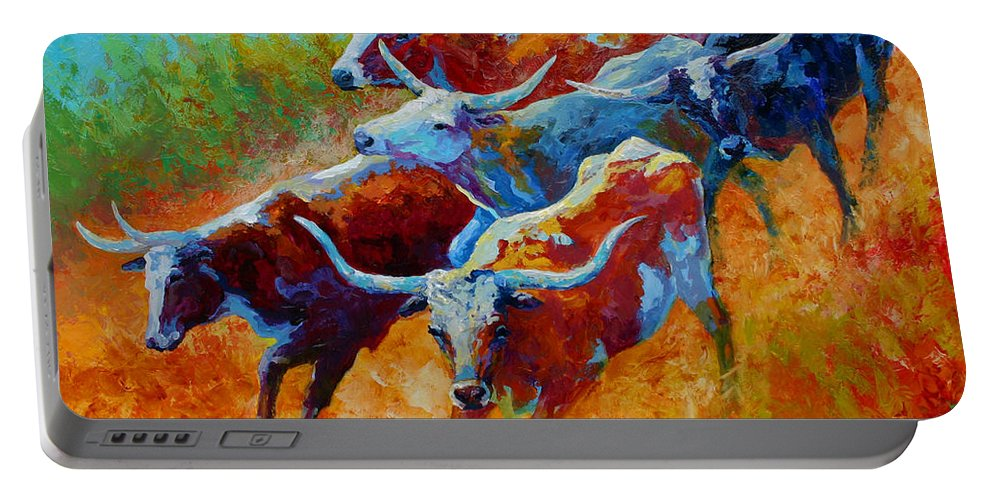 Western Portable Battery Charger featuring the painting Over The Ridge - Longhorns by Marion Rose