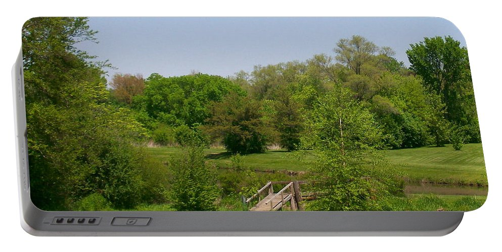Bridge Portable Battery Charger featuring the photograph Over The River And Through The Woods In Summer by Laurie Eve Loftin