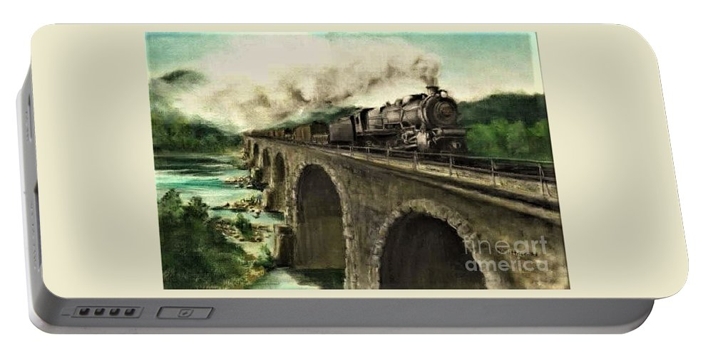 Steam Engine Portable Battery Charger featuring the painting Over the River by David Mittner
