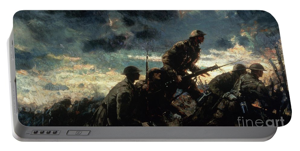 Over The Top Portable Battery Charger featuring the painting Over The Top by Alfred Bastien