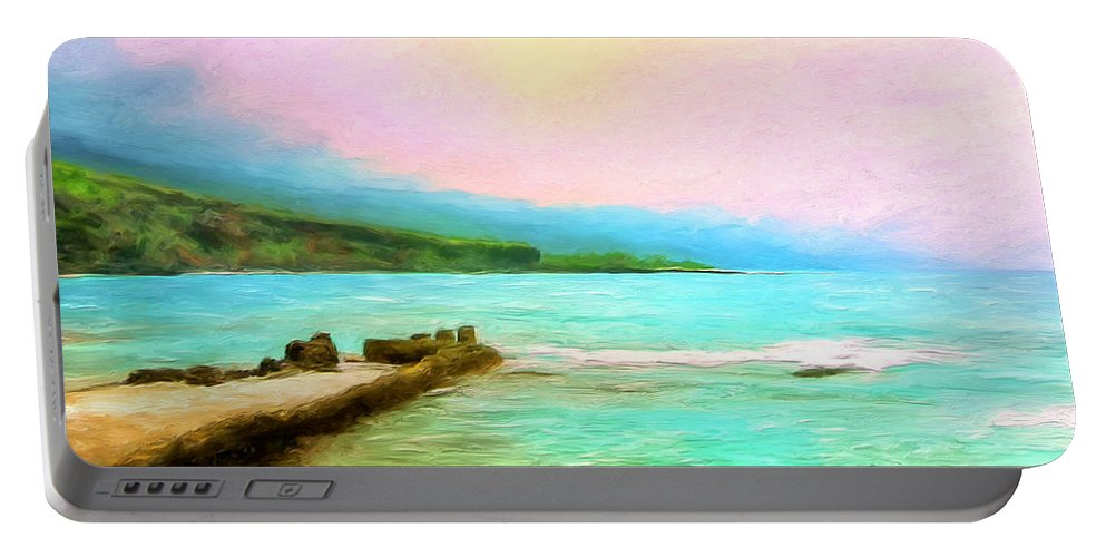 Napoopoo Beach Park Portable Battery Charger featuring the painting Overcast Sunset At Napoopoo Beach Park by Dominic Piperata