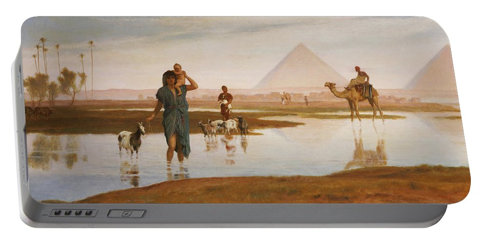 Egyptian; Landscape; Pyramid; Male; Female; Herding; Herd; Goats; Child; Carrying; River; Desert; Orientalist Portable Battery Charger featuring the painting Overflow Of The Nile by Frederick Goodall