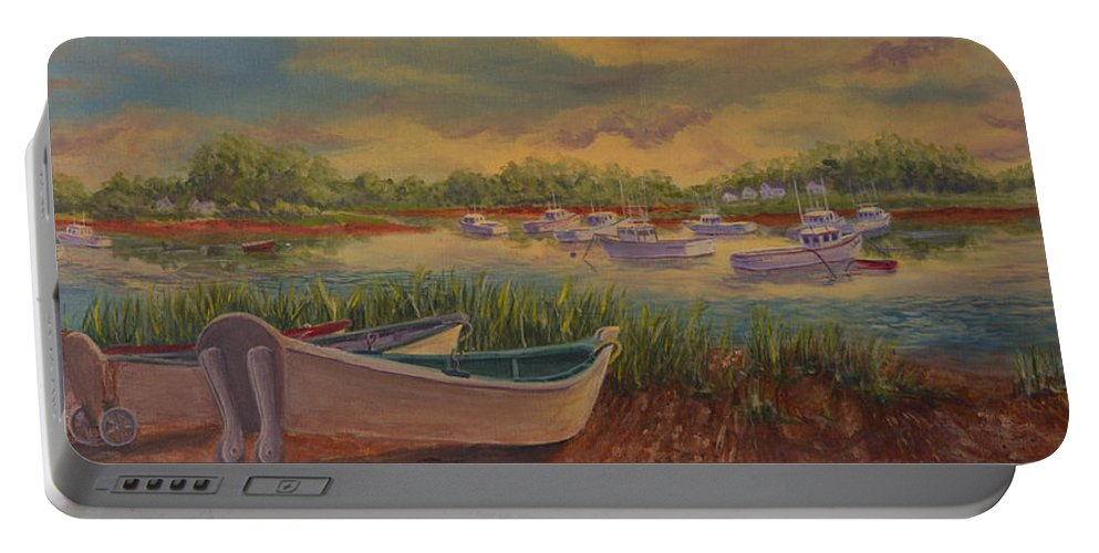 Seascape Portable Battery Charger featuring the painting Overflow Parking by Lorraine Vatcher