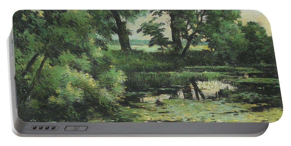 Isaak Ilich Levitan 1860 - 1900 Overgrown Pond Portable Battery Charger featuring the painting Overgrown Pond by MotionAge Designs