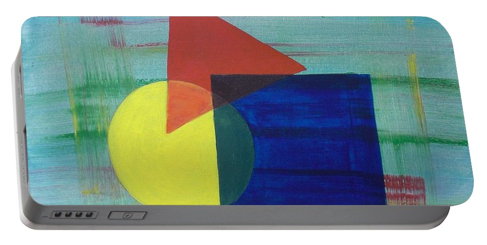 Shapes Portable Battery Charger featuring the painting Overlapping Shapes by Nancy Sisco