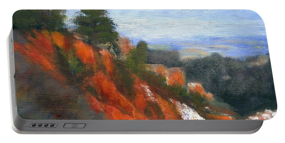 Southwest Portable Battery Charger featuring the painting Overlook by Gail Kirtz
