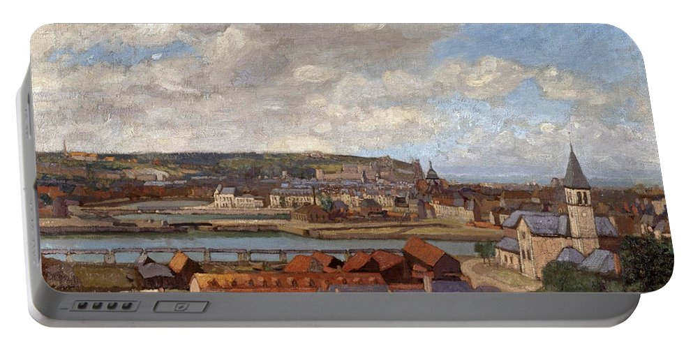 Spencer Frederick Gore Portable Battery Charger featuring the painting Overlooking The Town Of Dieppe by Spencer Frederick Gore