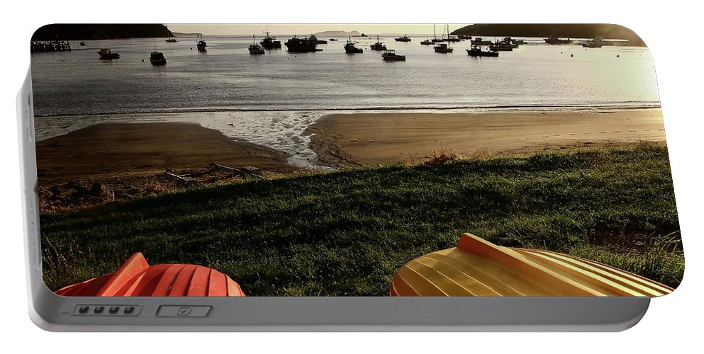 Overturned Portable Battery Charger featuring the digital art Overturned Boats On Shore Of Harbor by Mark Duffy
