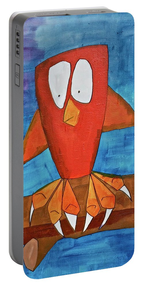 Pets Portable Battery Charger featuring the painting Owel by Donna Howard