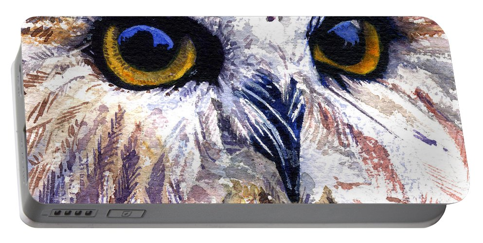 Eye Portable Battery Charger featuring the painting Owl by John D Benson