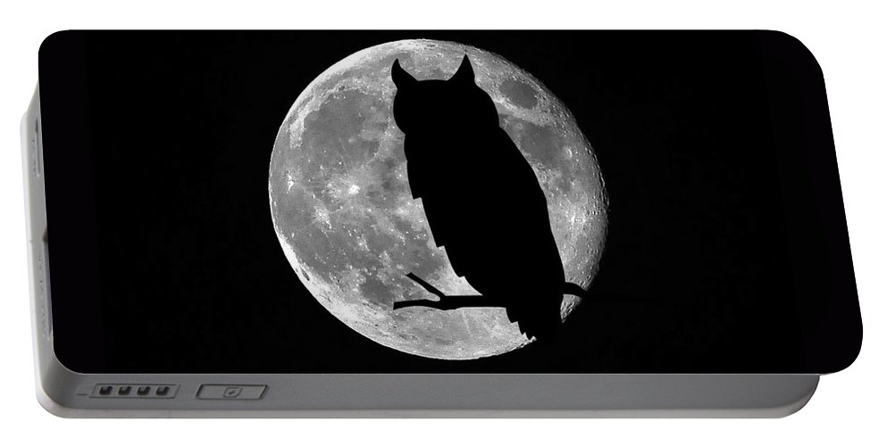 Owl Silhouette Portable Battery Charger featuring the photograph Owl Moon by Al Powell Photography USA