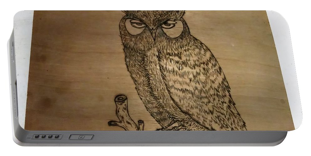 Portable Battery Charger featuring the pyrography Owl Pyrography by Thomas Cunningham