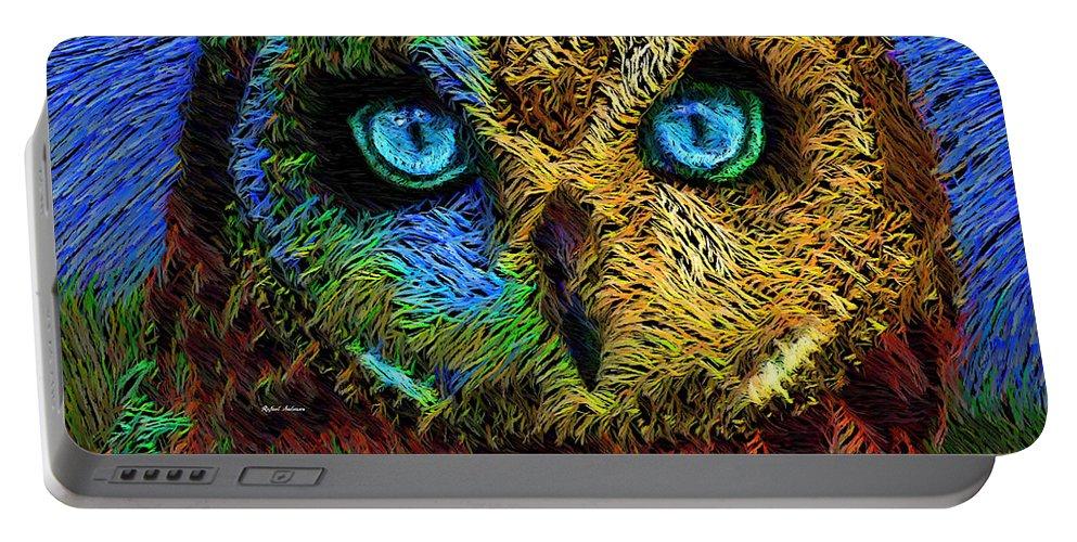 Rafael Salazar Portable Battery Charger featuring the digital art Owl by Rafael Salazar