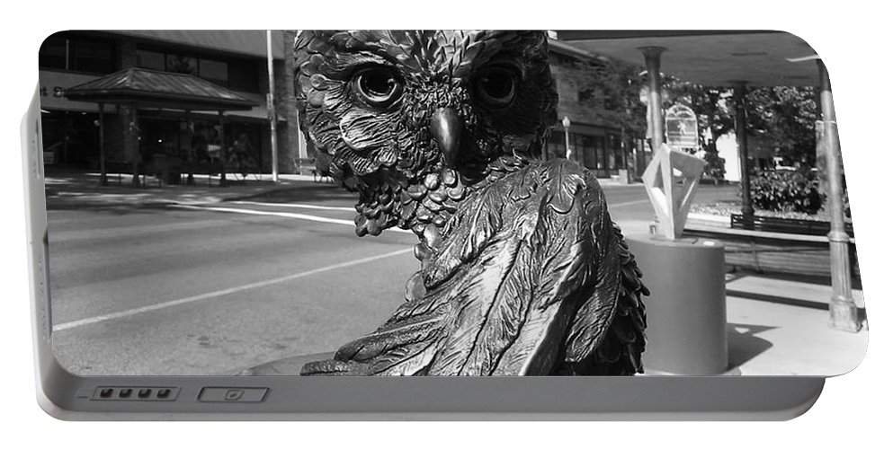Owl Sculpture Portable Battery Charger featuring the photograph Owl Sculpture Grand Junction Co by Tommy Anderson