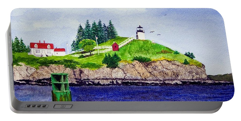 Lighthouse Portable Battery Charger featuring the painting Owls Head Lighthouse by Mike Robles