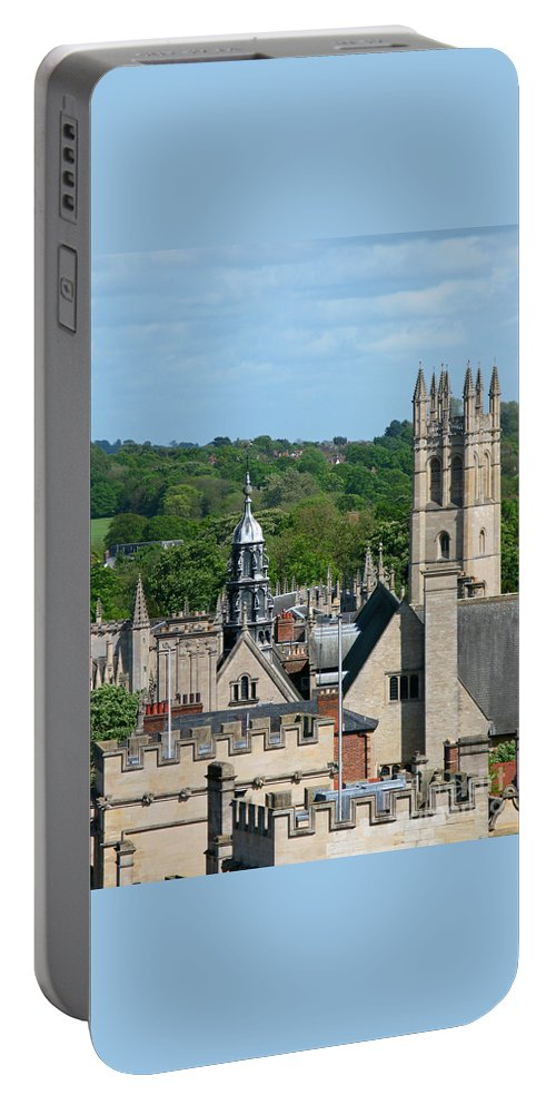 Oxford Portable Battery Charger featuring the photograph Oxford Tower View by Ann Horn
