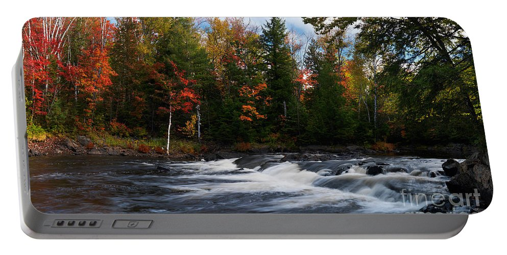 River Portable Battery Charger featuring the photograph Oxtongue River Ontario Autumn Scenery by Oleksiy Maksymenko