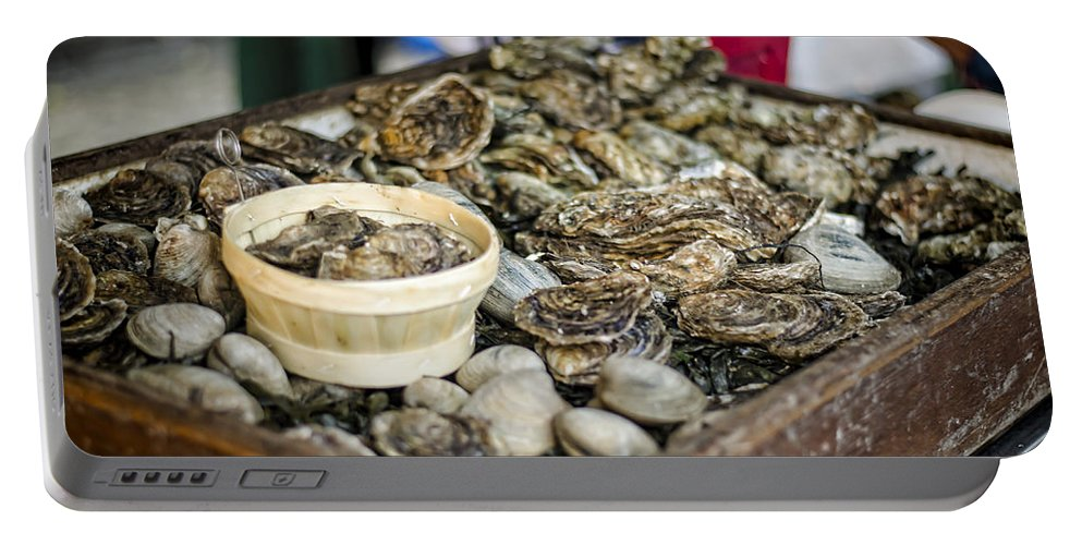 Oysters Portable Battery Charger featuring the photograph Oysters At The Market by Heather Applegate