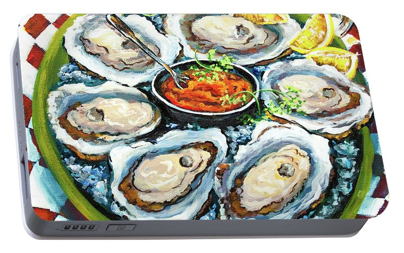 Oysters Portable Battery Charger featuring the painting Oysters On The Half Shell by Dianne Parks