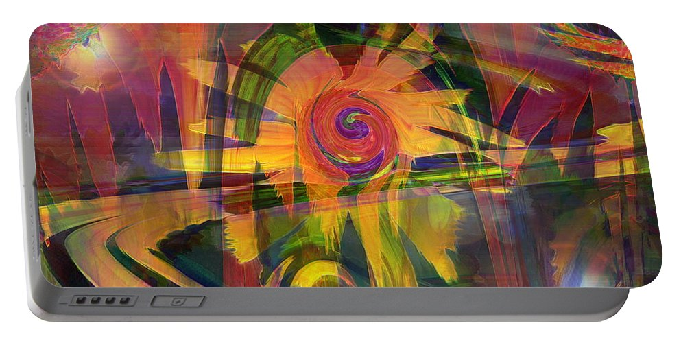 Abstract Art Portable Battery Charger featuring the digital art Oz And Poppies by Linda Sannuti