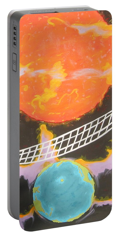 Environment Portable Battery Charger featuring the painting Ozone Net by V Boge