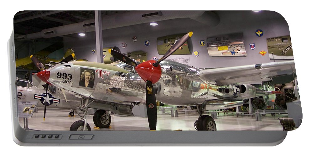 P-38 Portable Battery Charger featuring the photograph P-38 Lighting Marge by Tommy Anderson