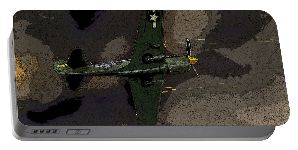 Artwork Portable Battery Charger featuring the painting P 40 Warhawk In Action by David Lee Thompson
