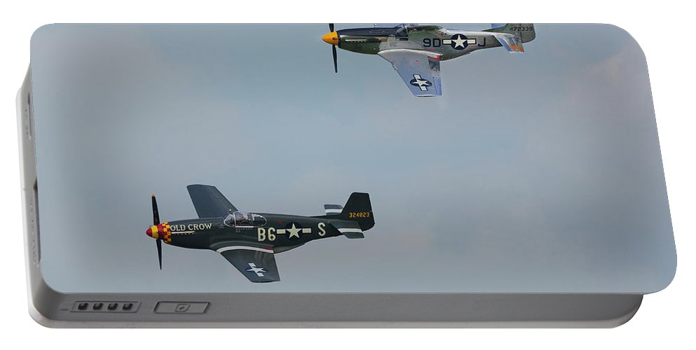 P-51 Mustangs Portable Battery Charger featuring the photograph P-51 Mustangs by Bruce Beck