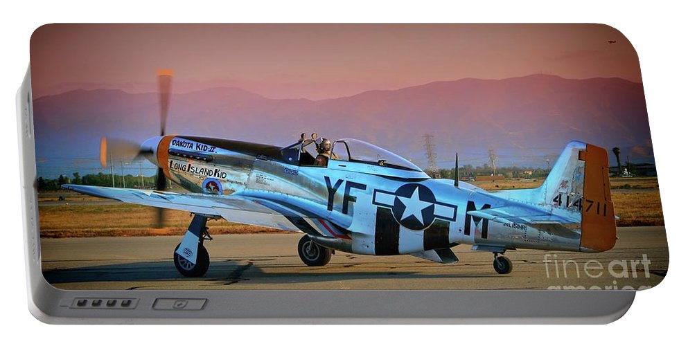 Transportation Portable Battery Charger featuring the photograph P-51d Mustang 'dakota Kid II. The Long Island Kid' And Casey Odegaard by Gus McCrea