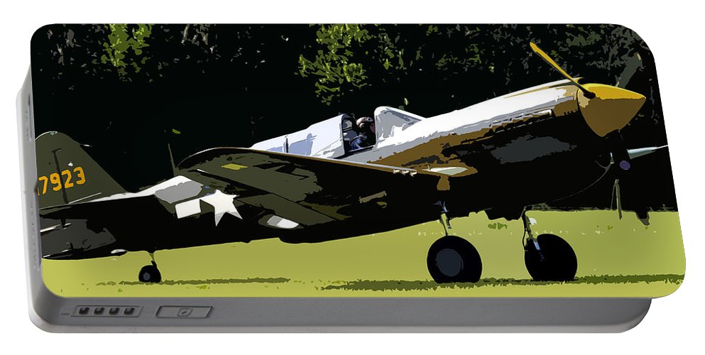 P 40 Portable Battery Charger featuring the painting P40 Take Off by David Lee Thompson