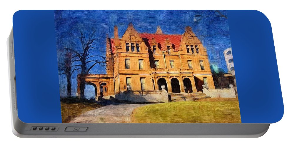 Architecture Portable Battery Charger featuring the digital art Pabst Mansion by Anita Burgermeister