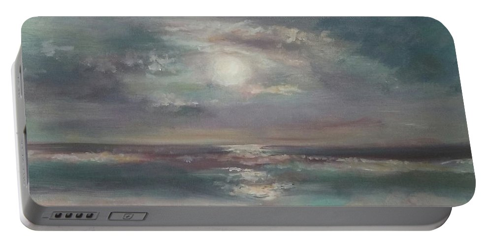 Seascape Portable Battery Charger featuring the painting Pacific Beach by Dianne L Gardner