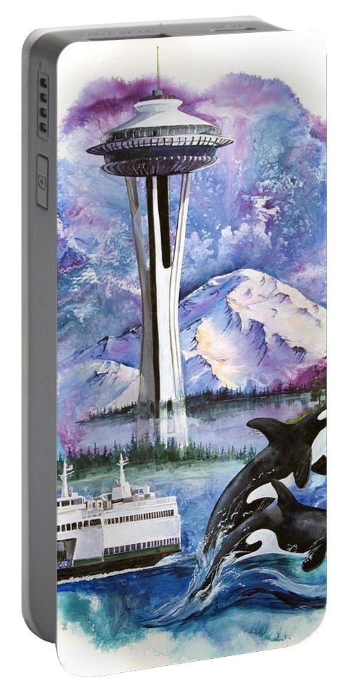 Mount Rainier Portable Battery Charger featuring the painting Pacific Northwest Montage by Sherry Shipley