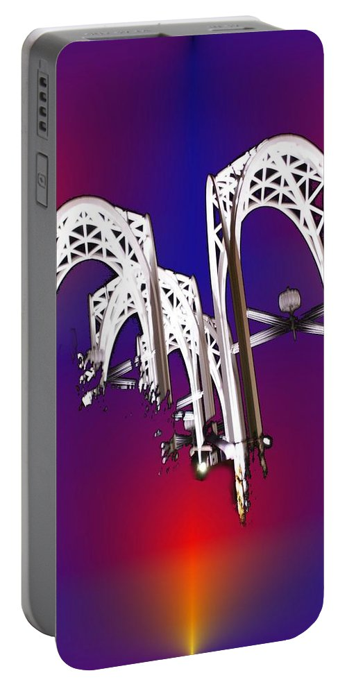 Seattle Portable Battery Charger featuring the photograph Pacific Science Center Arches by Tim Allen